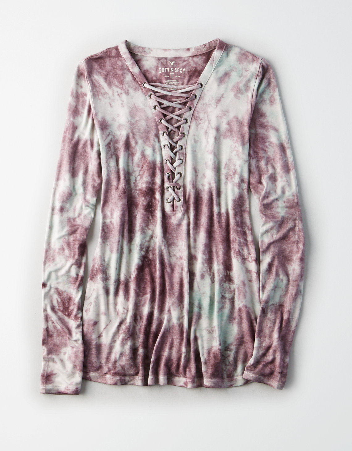 AE Soft & Sexy Long-Sleeve Lace-Up T-Shirt