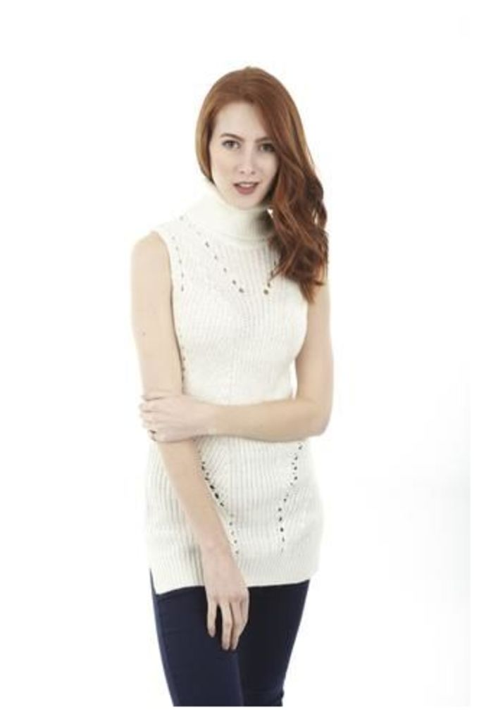 Sleeveless Roll-Neck Jumper