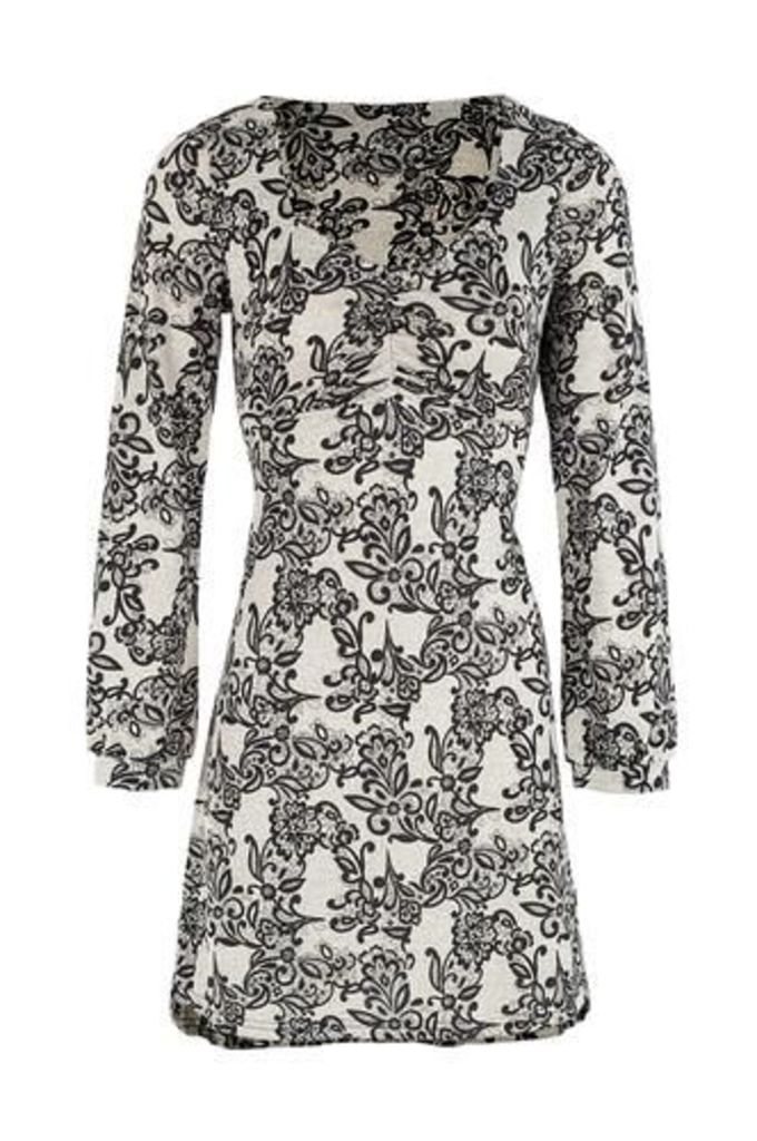 Damask Print Tunic Dress