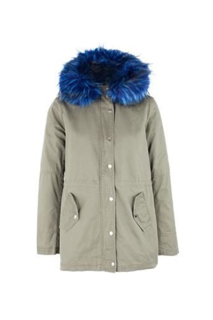 Faux Fur Hood Parka Coat
