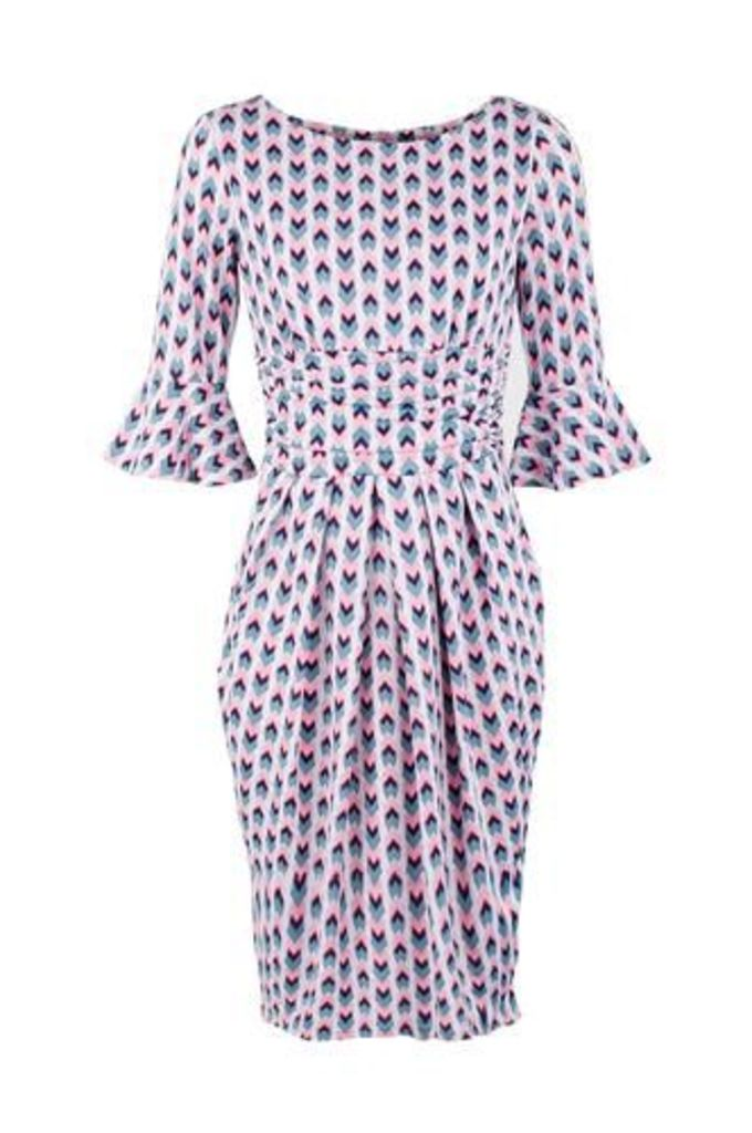 Geo Print Ruched Midi Dress