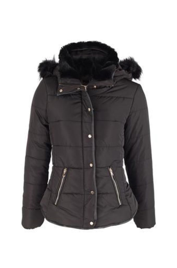 Faux Fur Hood Puffer Jacket