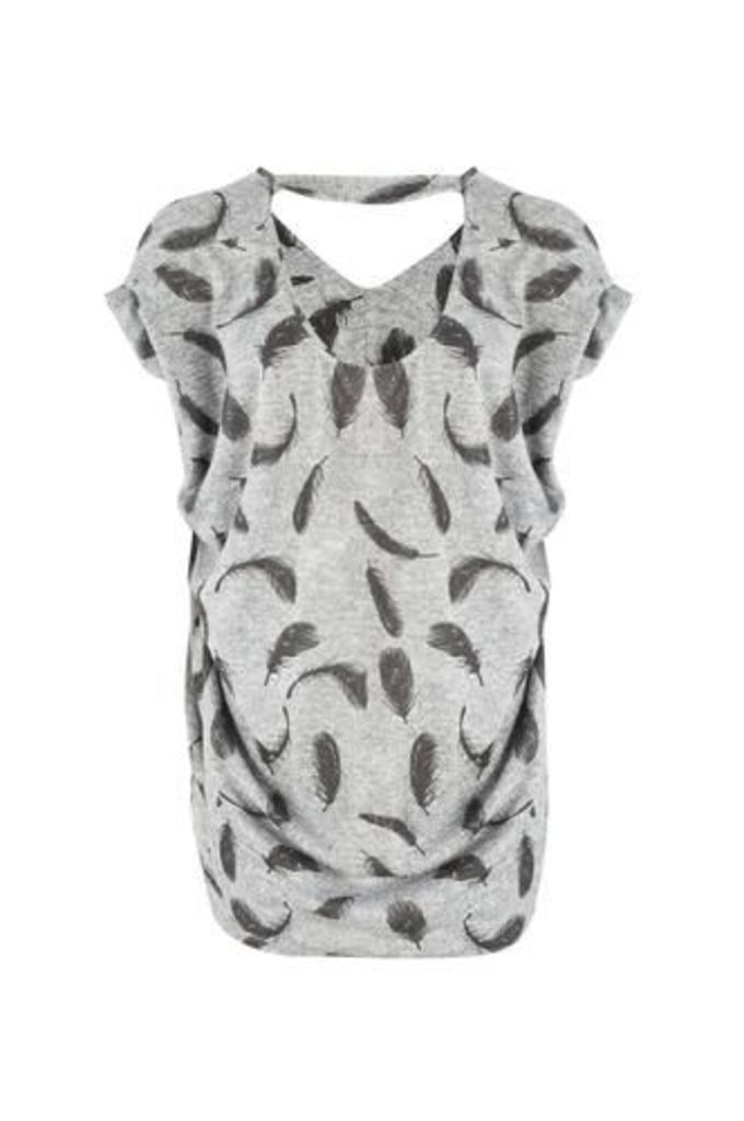 Feather Print Oversized Top