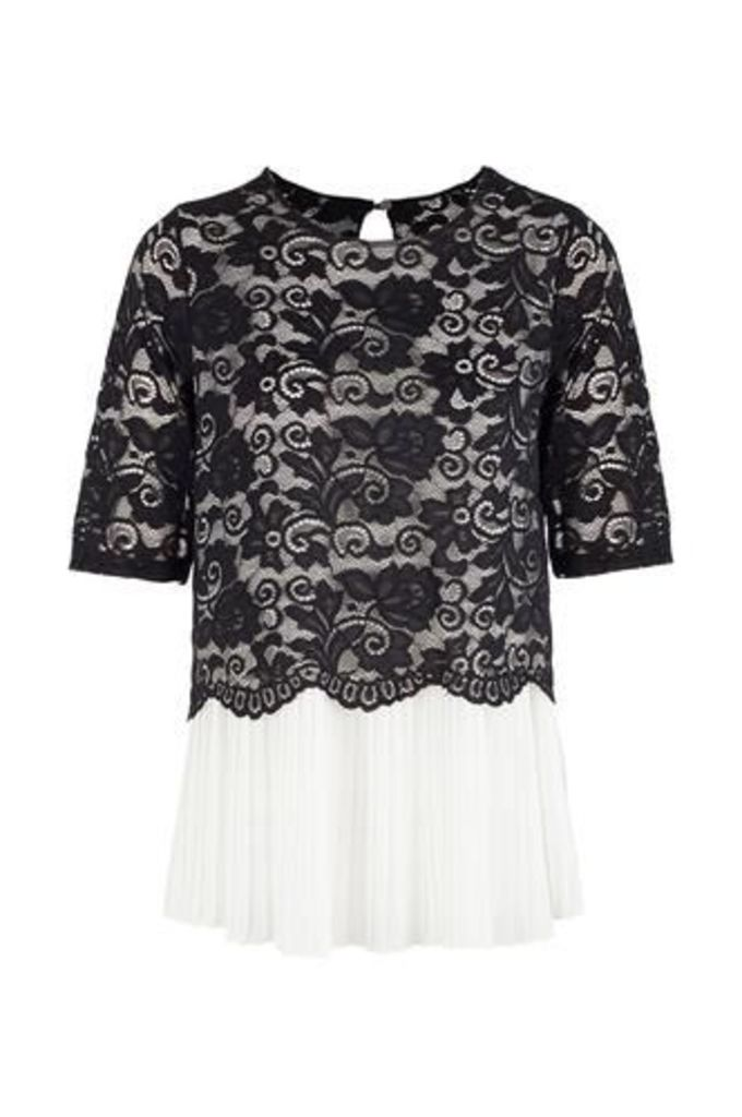 Lace Overlay Pleated Top