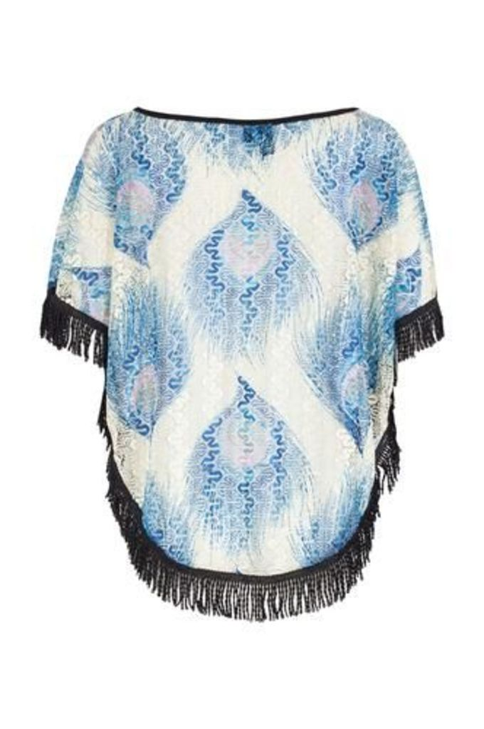 Peacock Print Kaftan Top