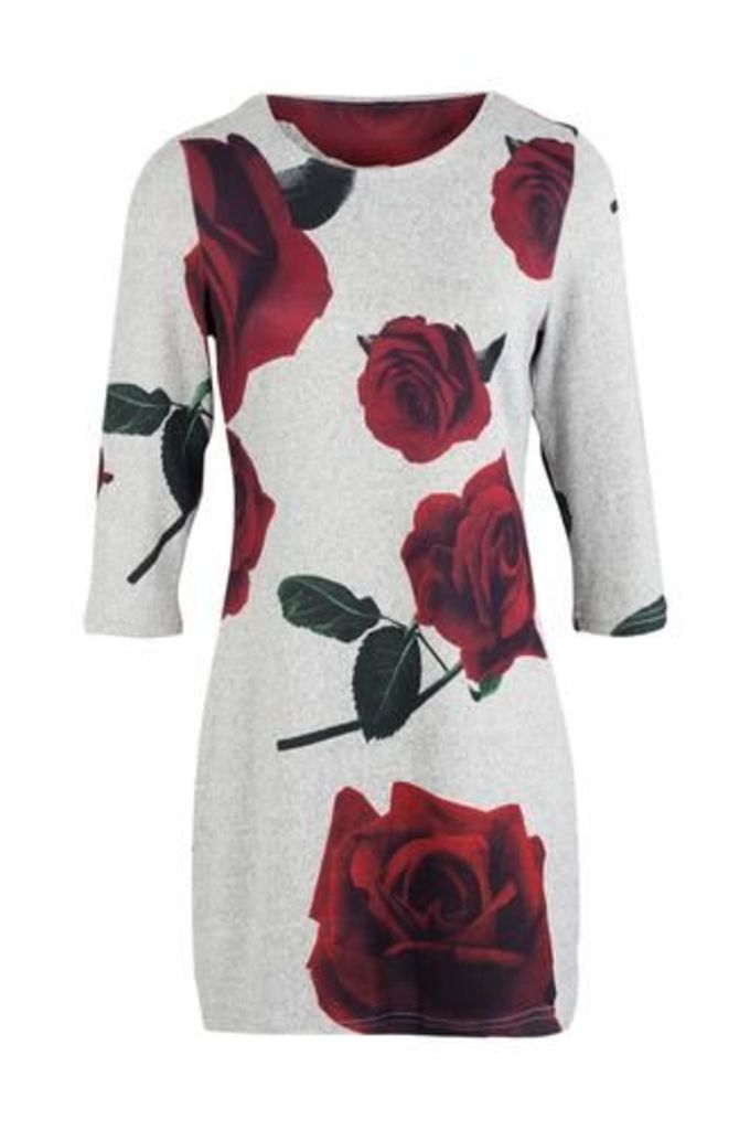 Rose Print Jersey Tunic Dress