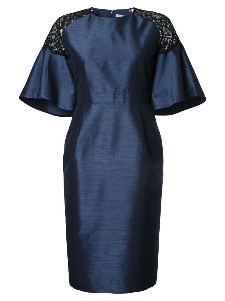 Estnation - flared lace panel dress - women - Silk/Polyester/Cupro/Polyurethane - 36, Blue