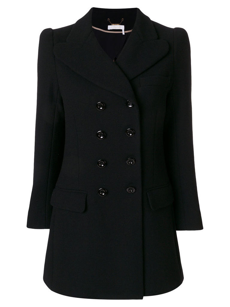 Chloé - double breasted jacket - women - Virgin Wool/Acetate/Silk/Cupro - 36, Black