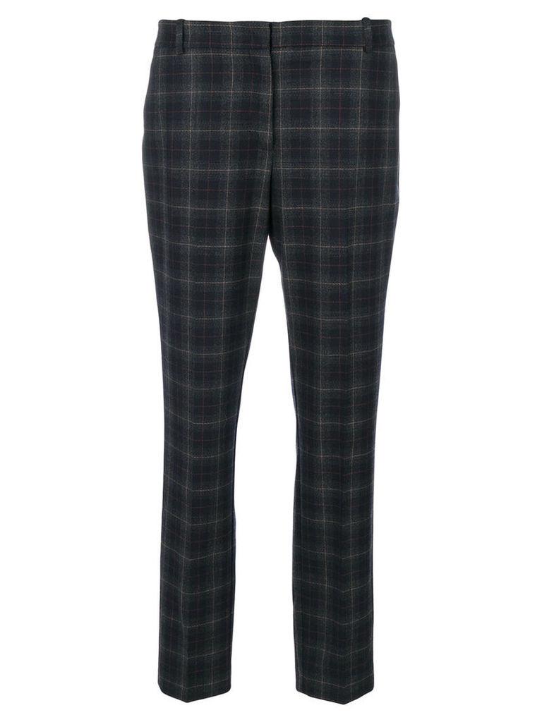Kiltie - checked cropped trousers - women - Spandex/Elastane/Virgin Wool - 48, Blue