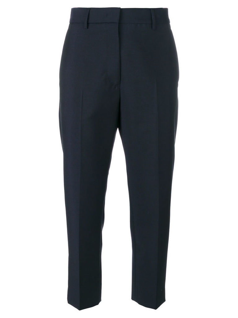 Jil Sander - cropped tailored trousers - women - Wool/Mohair/Cotton/Polyester - 38, Blue