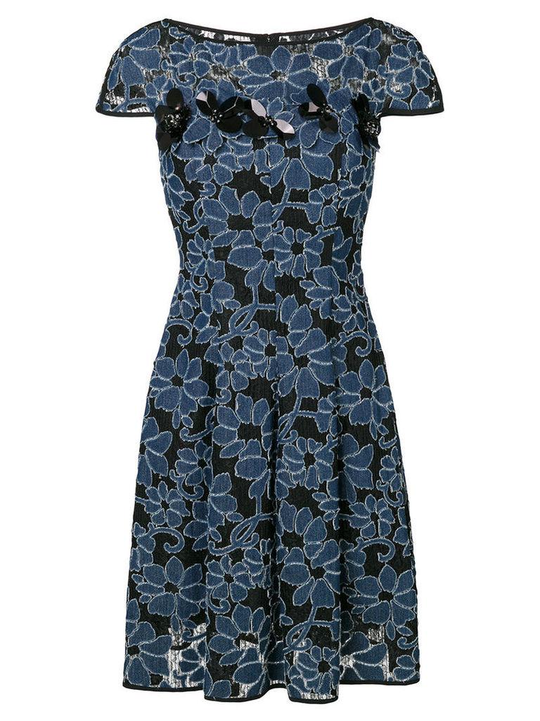 Talbot Runhof - floral flared dress - women - Cotton/Polyester - 40, Black