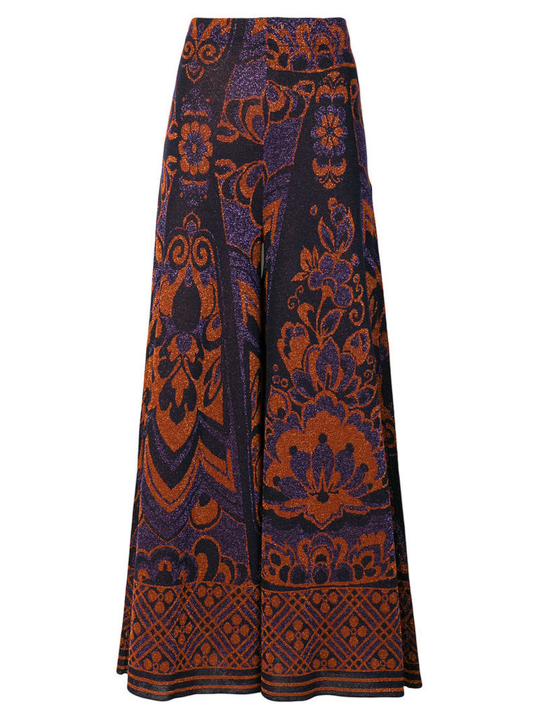 Circus Hotel - flared maxi trousers - women - Viscose/Polyester - 40, Pink/Purple