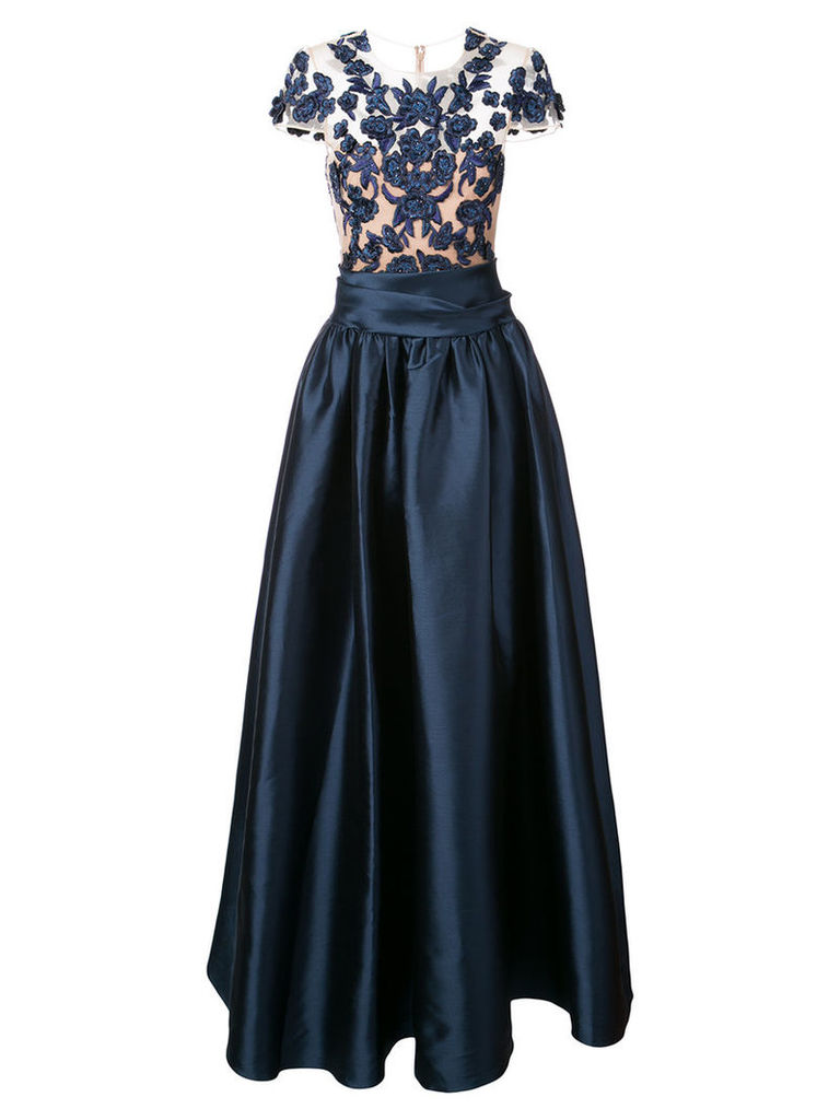 Marchesa Notte - romantic embellished gown - women - Nylon/Polyester - 14, Blue