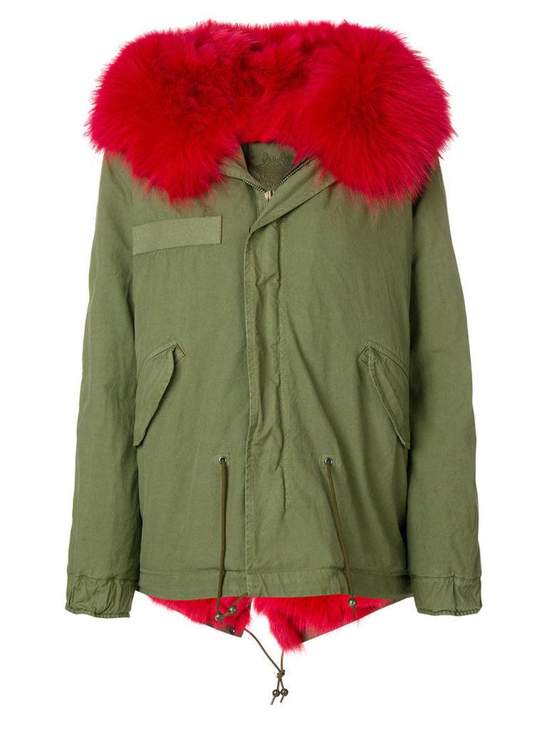 Mr & Mrs Italy - fox fur hooded short coat - women - Cotton/Lamb Skin/Polyester/Fox Fur - XS, Green