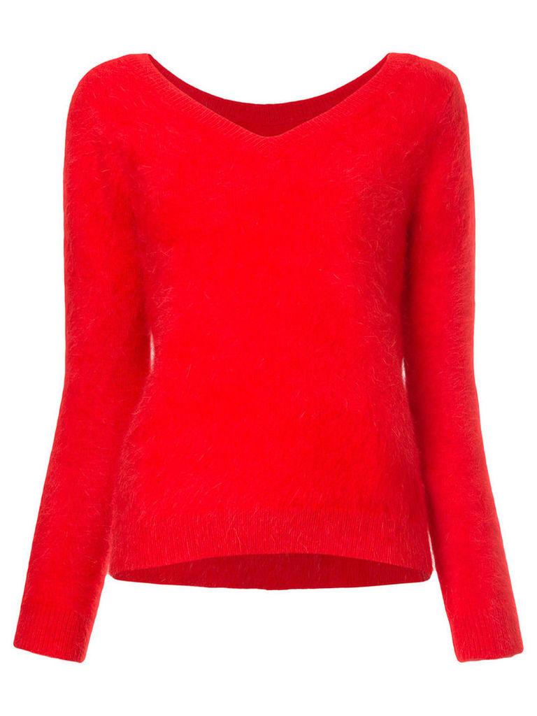 Loveless - V-neck jumper - women - Angora/Nylon/Polyurethane - 34, Red