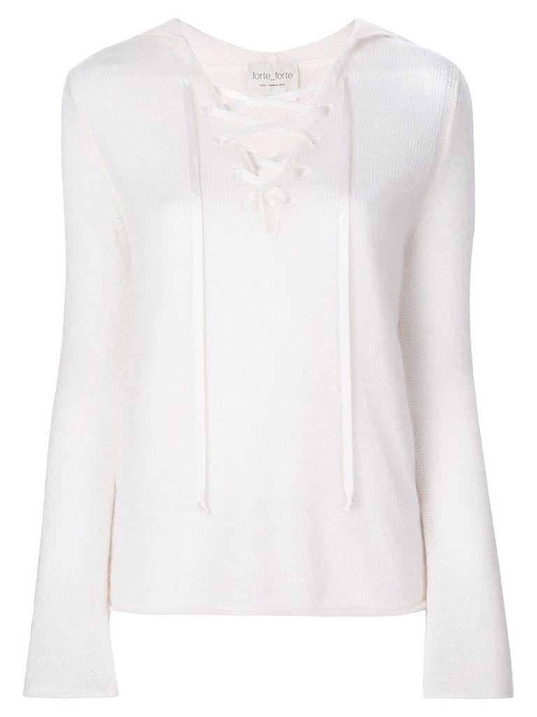 Forte Forte - lace up jumper - women - Mohair/Silk - I, White
