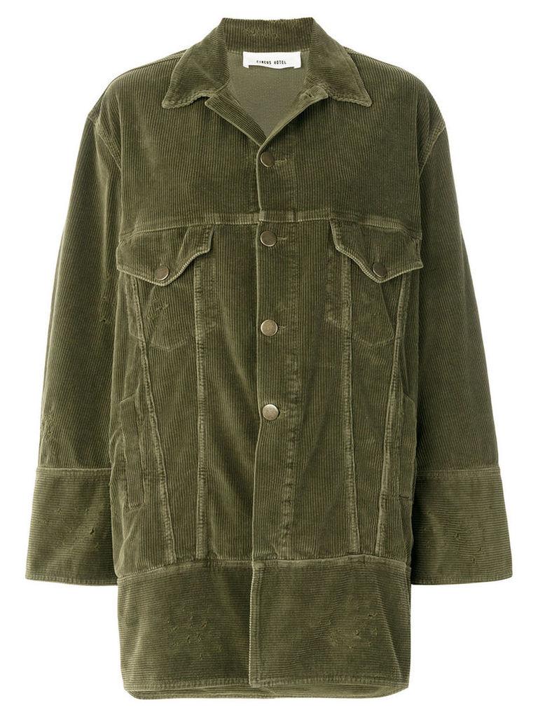 Circus Hotel - oversized corduroy jacket - women - Cotton/Polyester/Spandex/Elastane - 38, Green