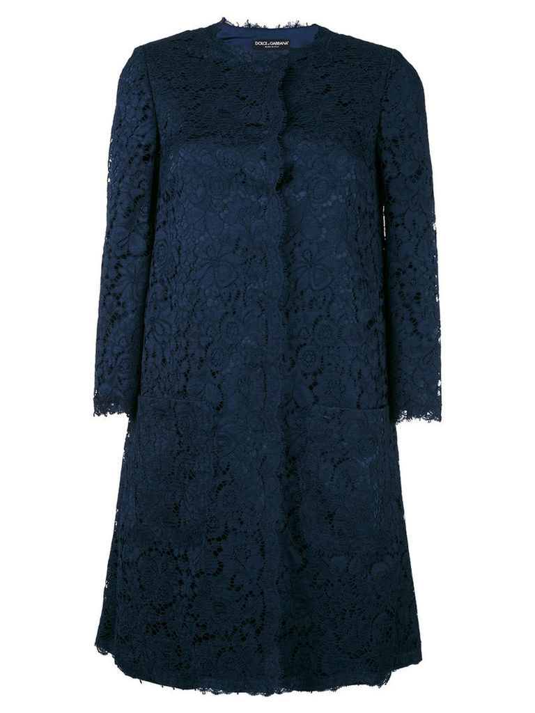 Dolce & Gabbana - lace coat - women - Cotton/Viscose/Polyamide/Spandex/Elastane - 42, Blue