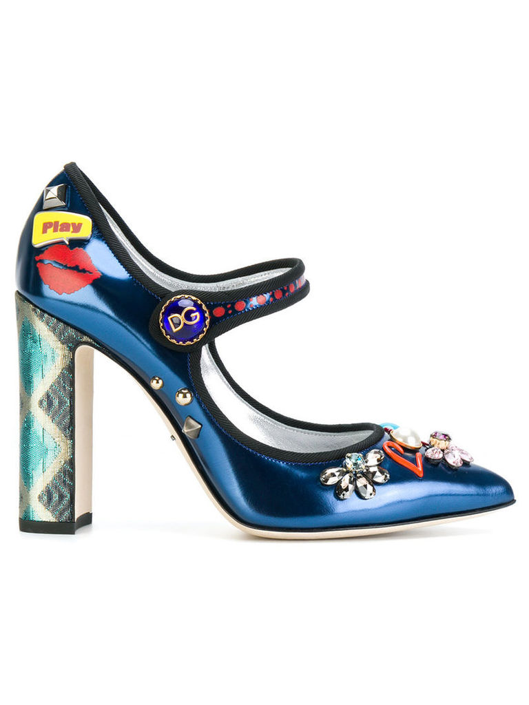 Dolce & Gabbana - Bellucci Mary Jane pumps - women - Patent Leather/Leather/Cotton - 36