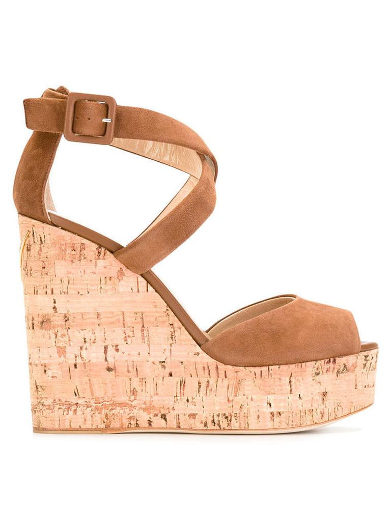 Giuseppe Zanotti Design - platform wedge sandals - women - Suede/Leather/Cork - 39, Brown