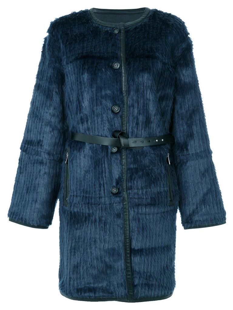 Urbancode - textured belted coat - women - Acrylic/Polyester/Polyurethane - 12, Blue