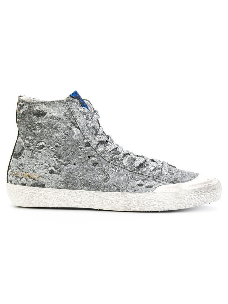Golden Goose Deluxe Brand - Francy crater print hi tops - women - Cotton/Calf Leather/Leather/rubber - 38, Grey