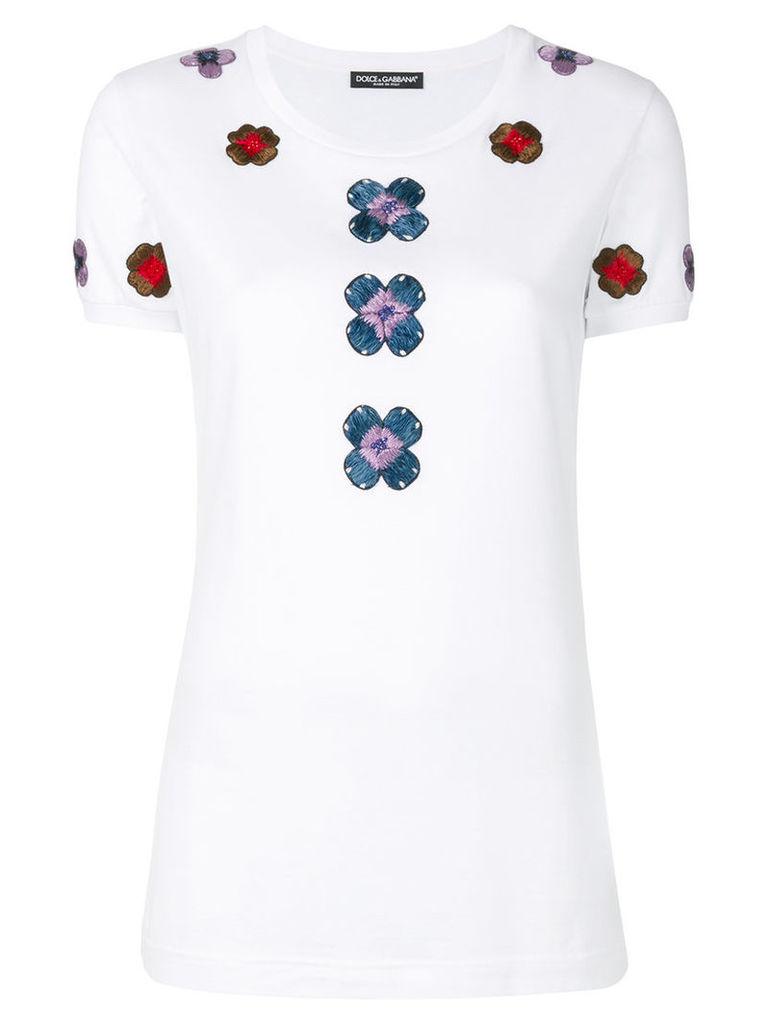 Dolce & Gabbana - flower embroidered T-shirt - women - Cotton/Viscose/Silk - 42, White