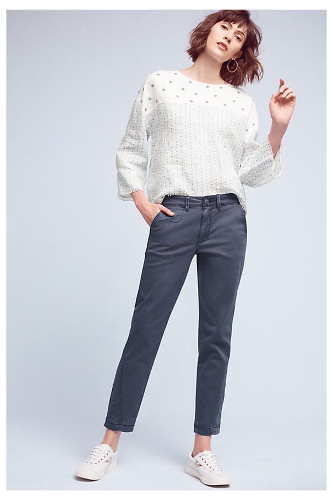 Joan Relaxed Chino Trousers - Navy, Size 30