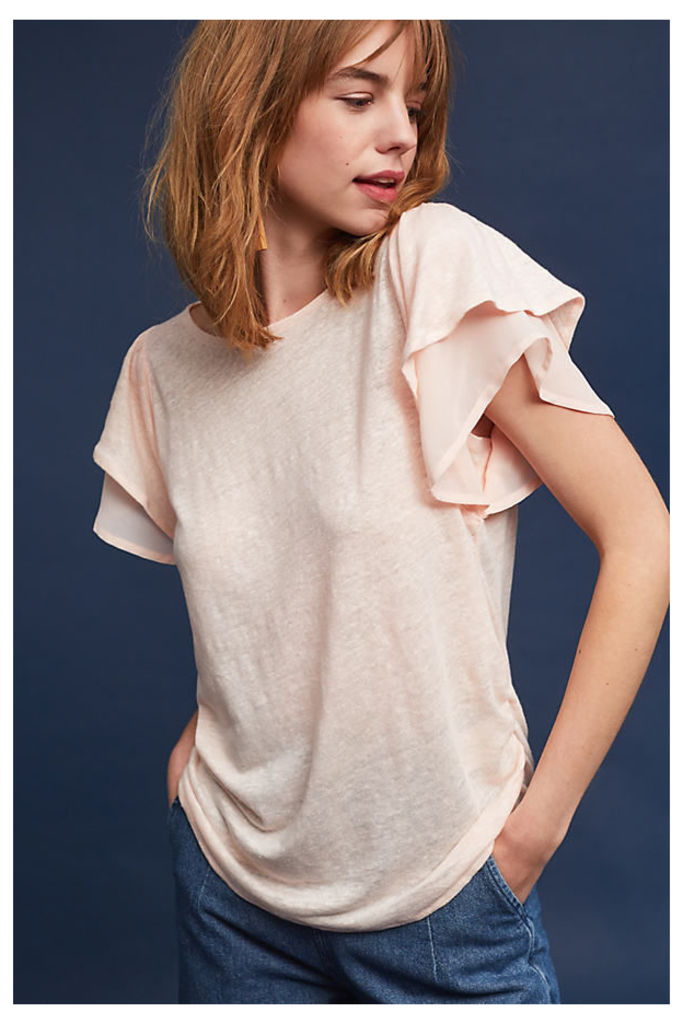 Phailin Ruffle-Sleeved Top, Pink - Rose, Size L