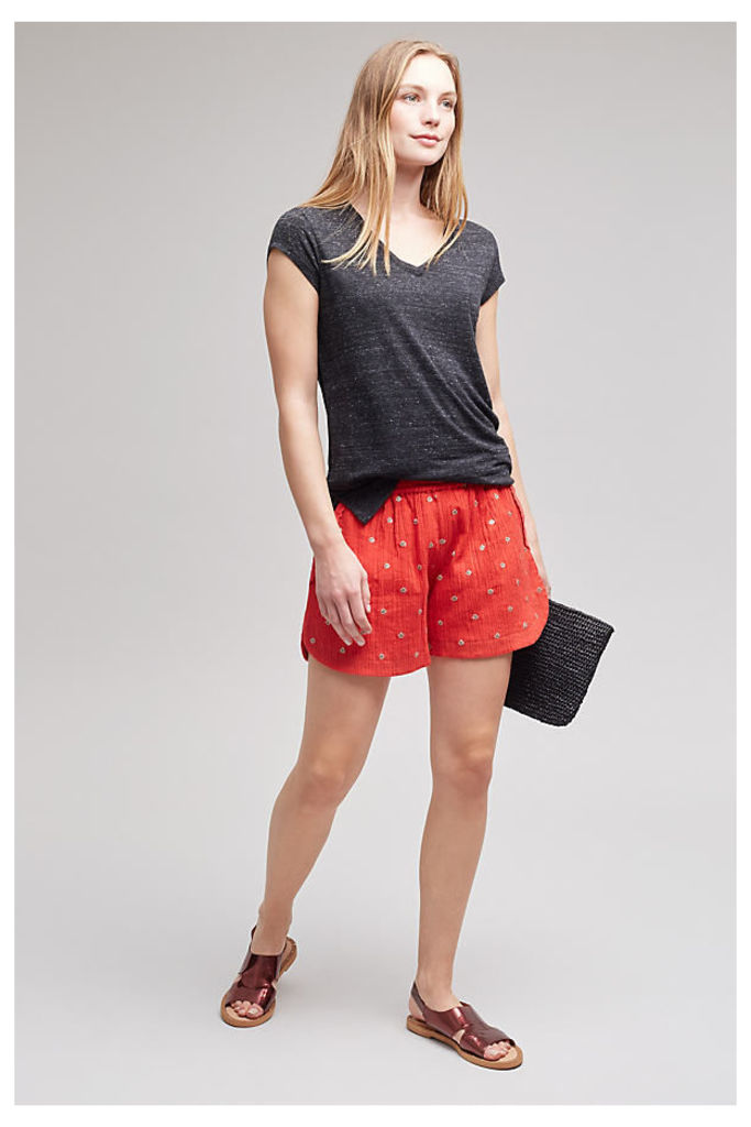 Inga Embroidered Shorts, Red - Red, Size L