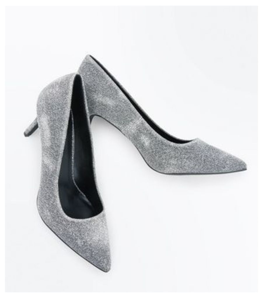 Grey Glitter Pointed Court Shoes New Look