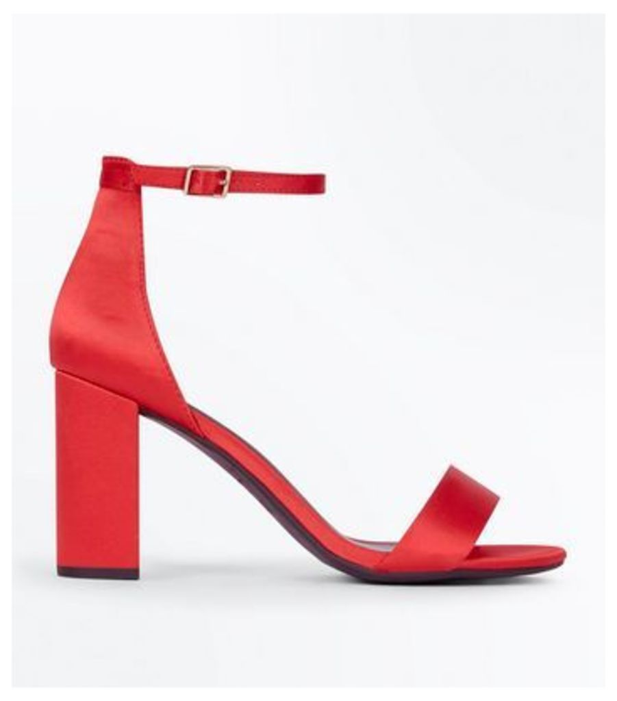 Wide Fit Red Ankle Strap Block Heels New Look
