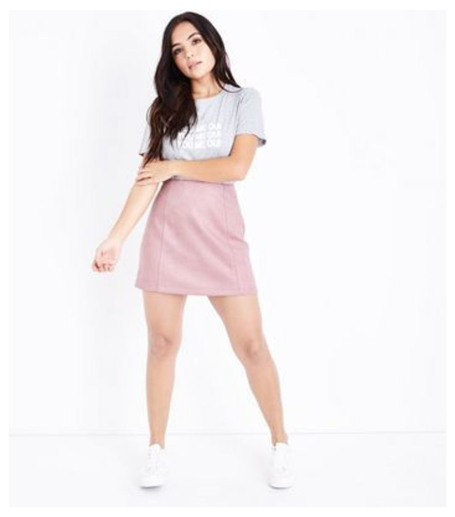 Petite Pink Suedette A-Line Mini Skirt New Look