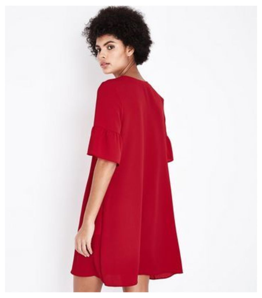 Dark Red Eyelet Lace Up Bell Sleeve Tunic Dress New Look