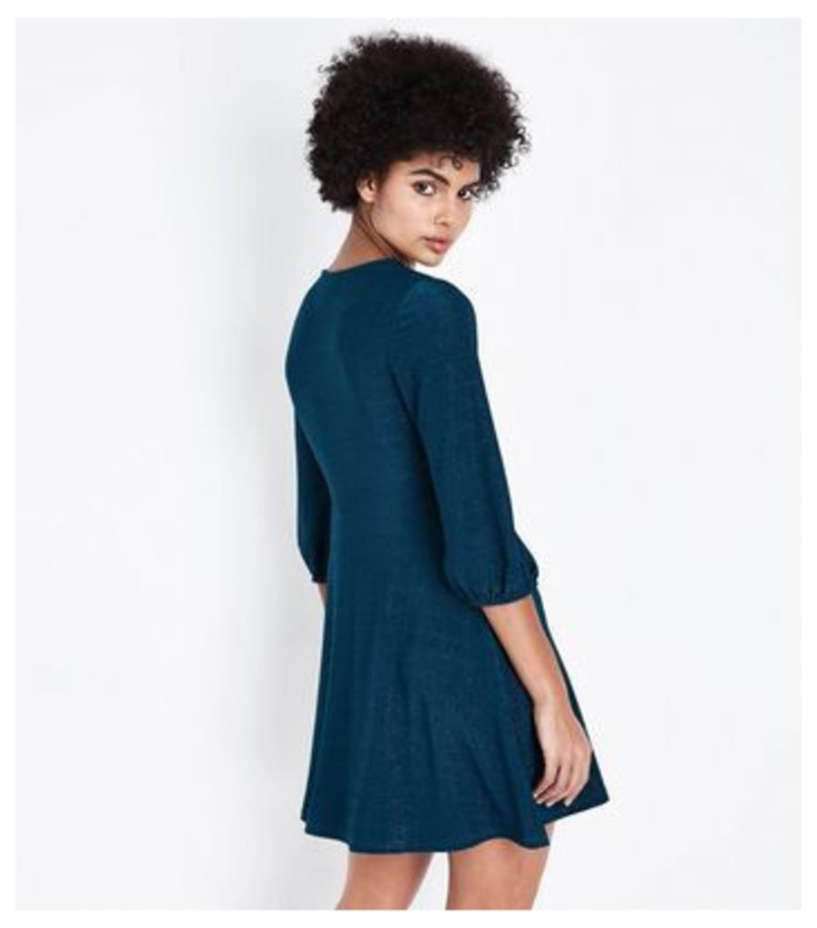 Teal Glitter Wrap Front Dress New Look
