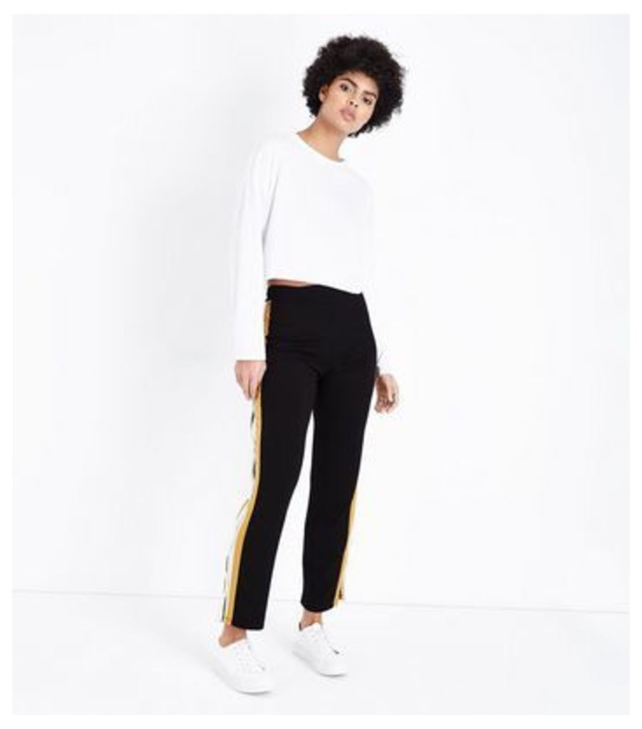 Cameo Rose Mustard Double Stripe Popper Side Trousers New Look