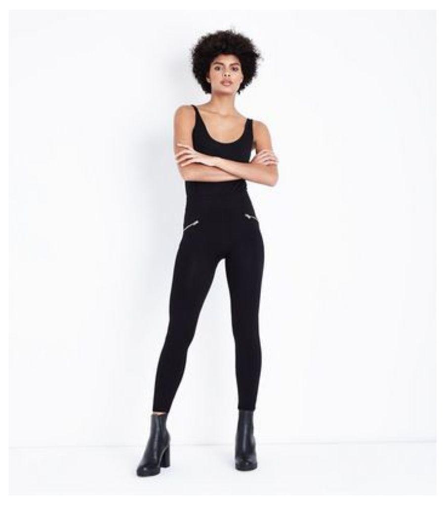 Black Zip Front Fleece Lined Leggings New Look