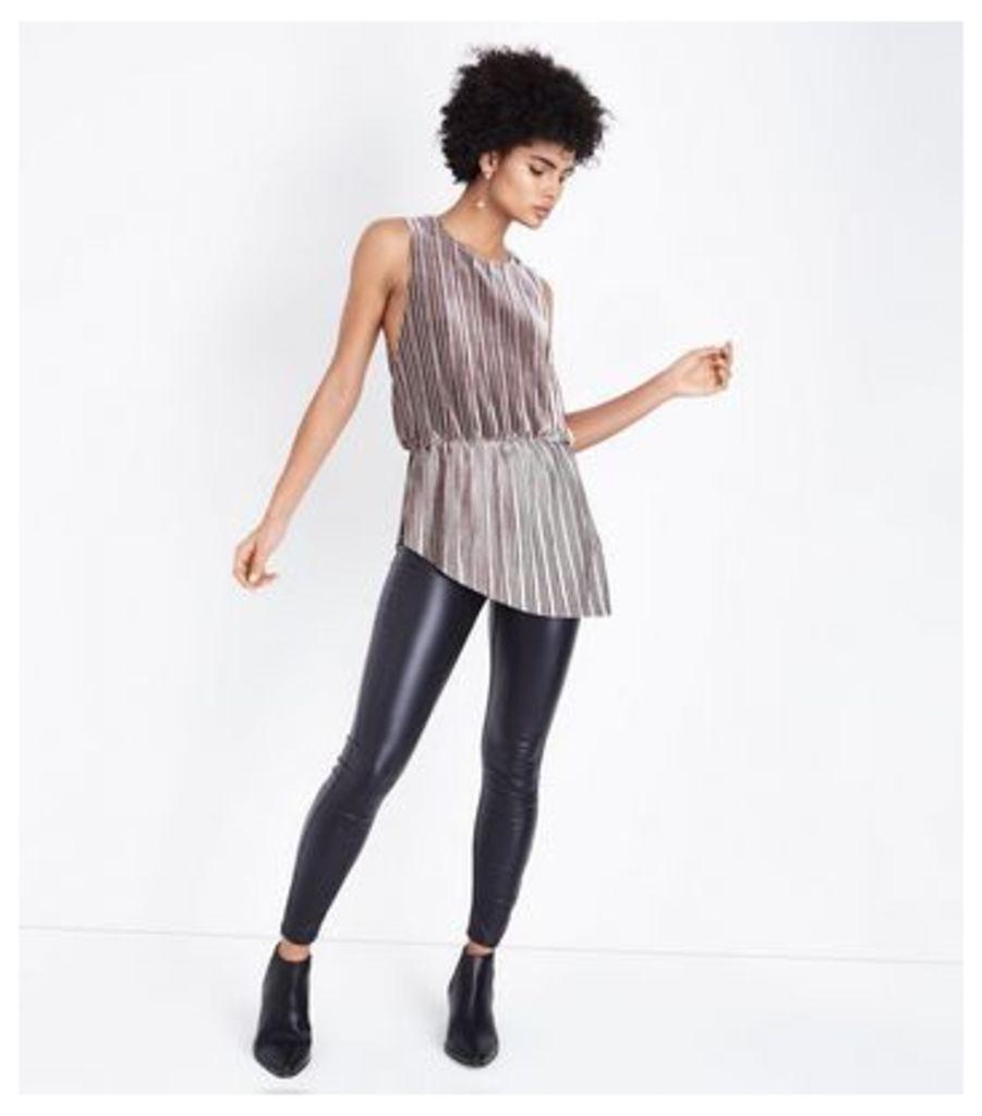AX Paris Grey Pleated Velvet Asymmetric Top New Look
