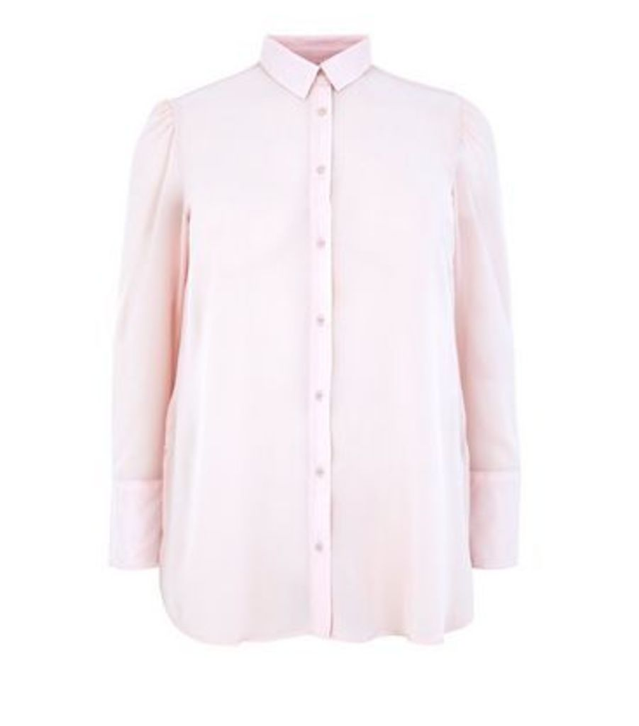 Curves Shell Pink Chiffon Longline Shirt New Look