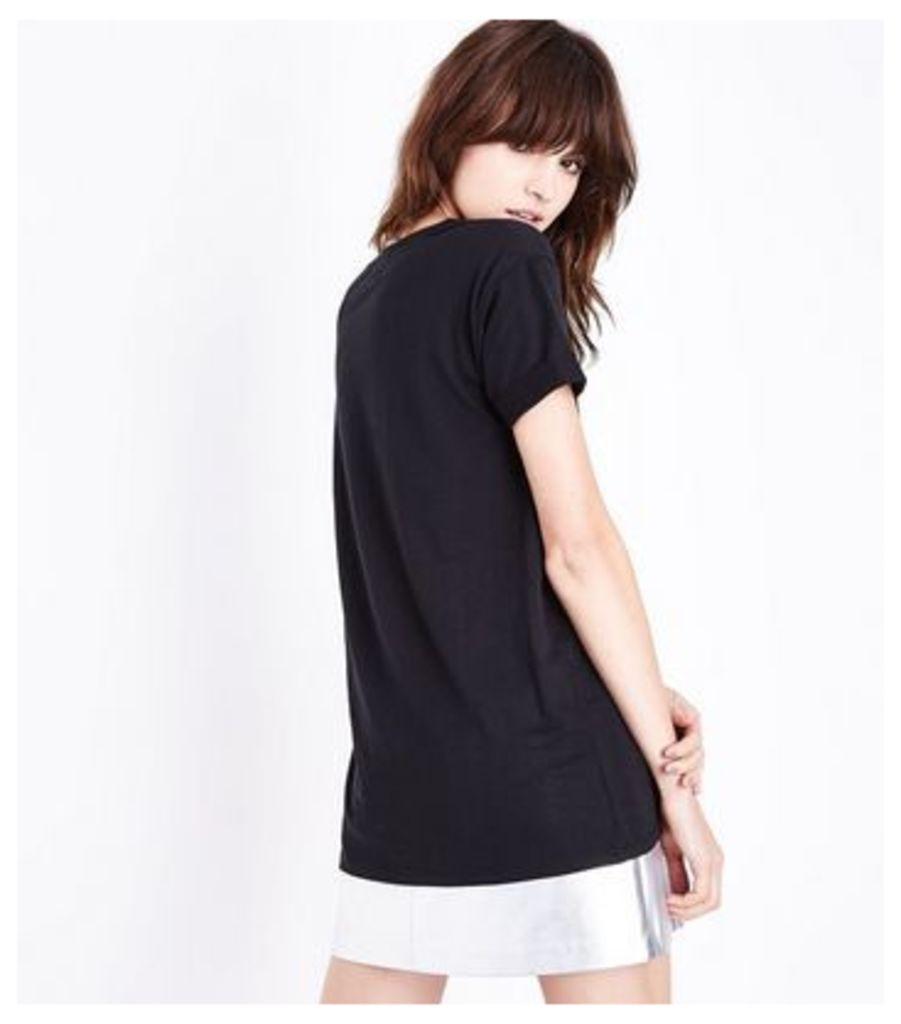 Black Chance Glitter Print Oversized T-Shirt New Look
