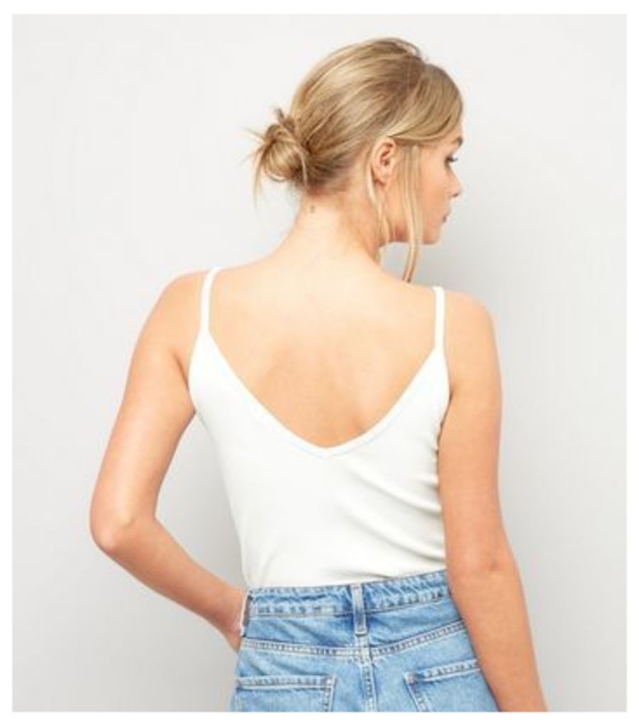 Cream Ribbed Strap Front Bodysuit New Look
