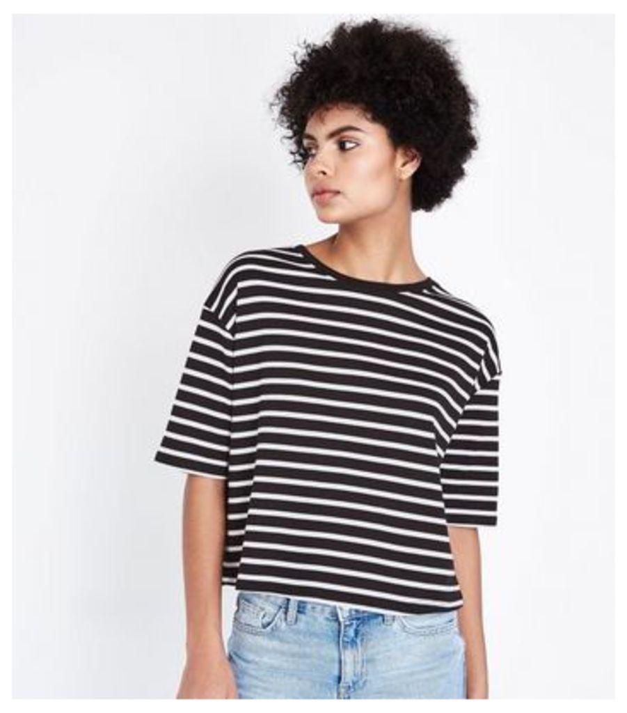 Black Stripe Boxy T-Shirt New Look