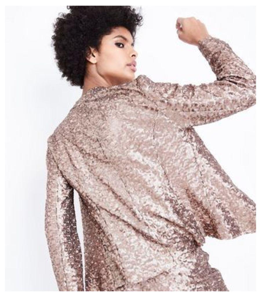 Rose Gold Sequin Blazer New Look