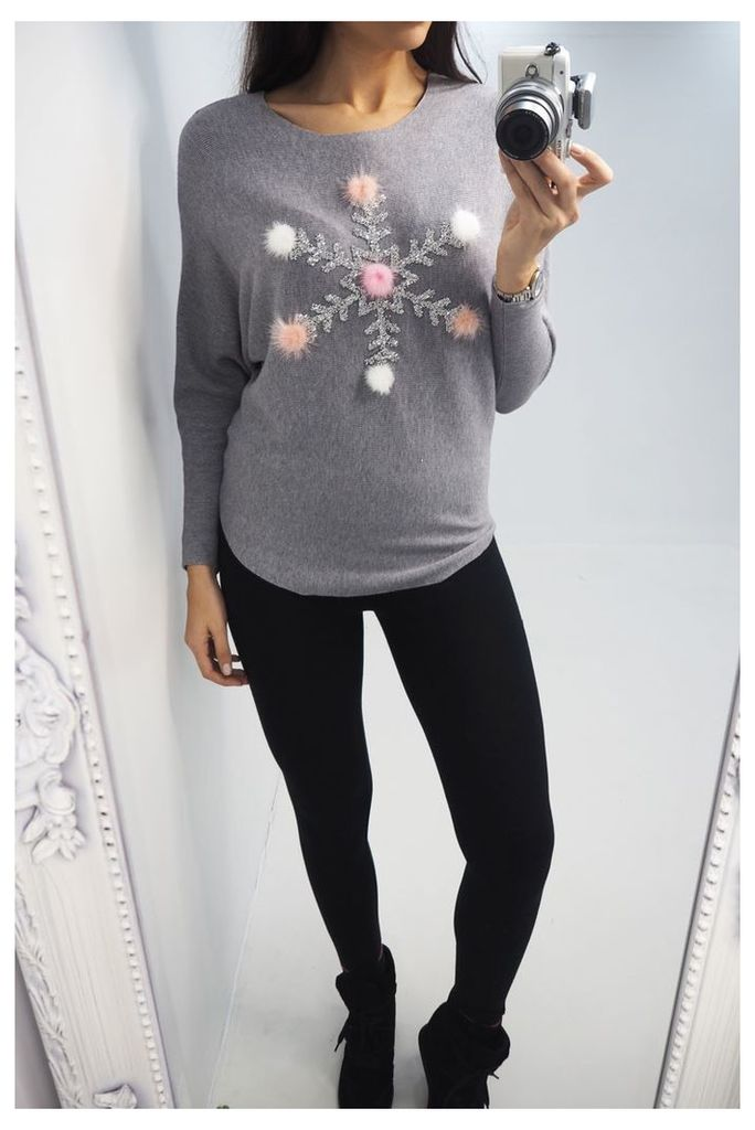 Snowflake Sequin Pompom Batwing Jumper