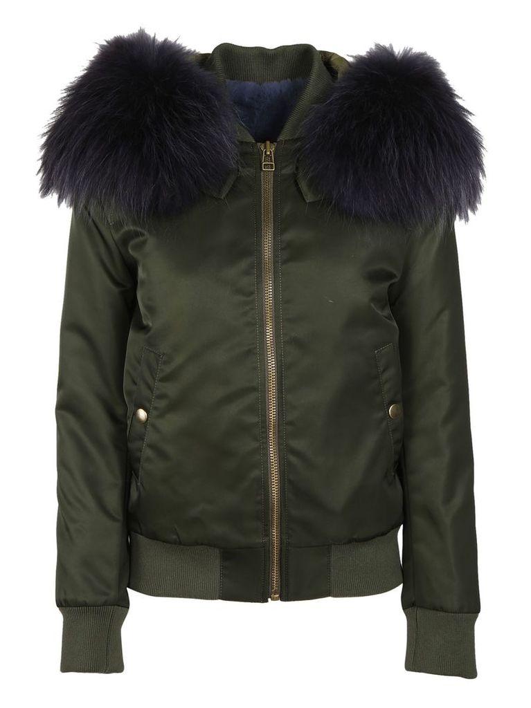Mr & Mrs Italy Fur Hood Bomber Jacket