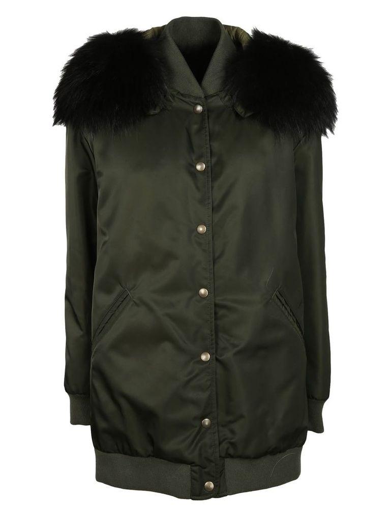 Mr & Mrs Italy Fur Hood Long Bomber Jacket