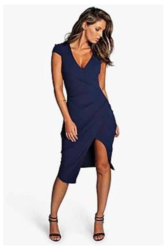 Meg Cap Sleeve Wrap Midi Dress