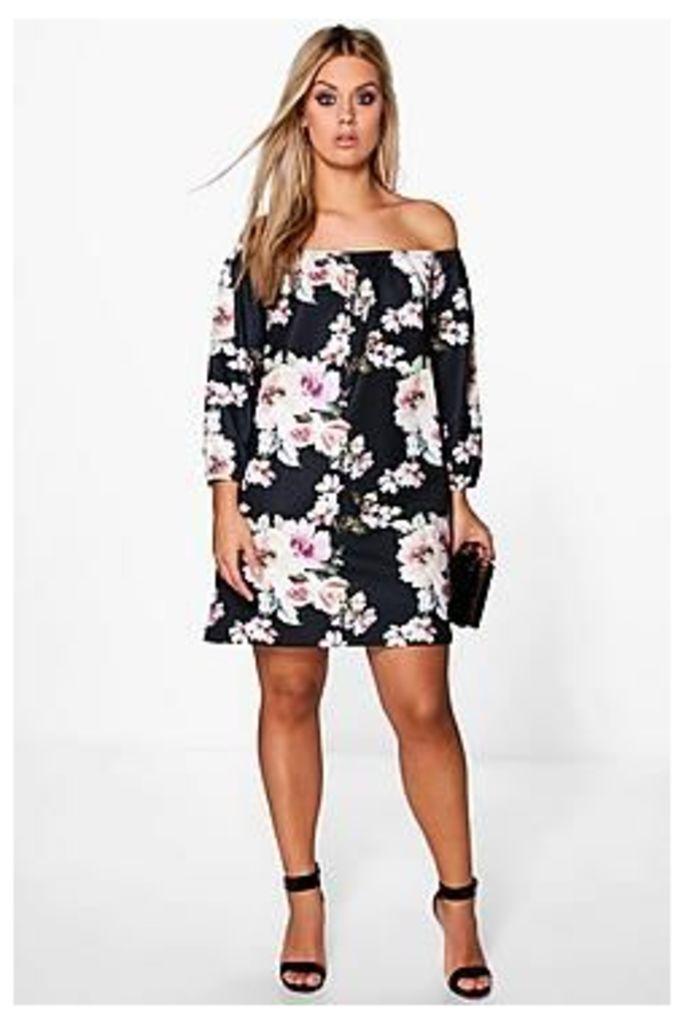 Plus Audrey Floral Printed Textured Shift Dress