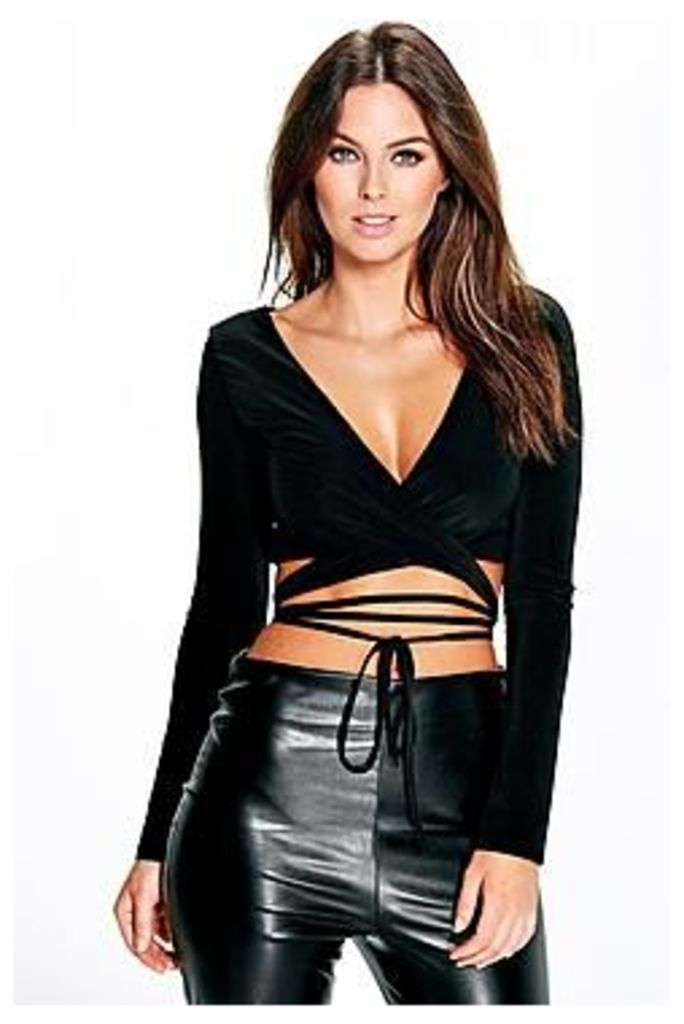Orla Strappy Wrap Front Long Sleeve Bralet