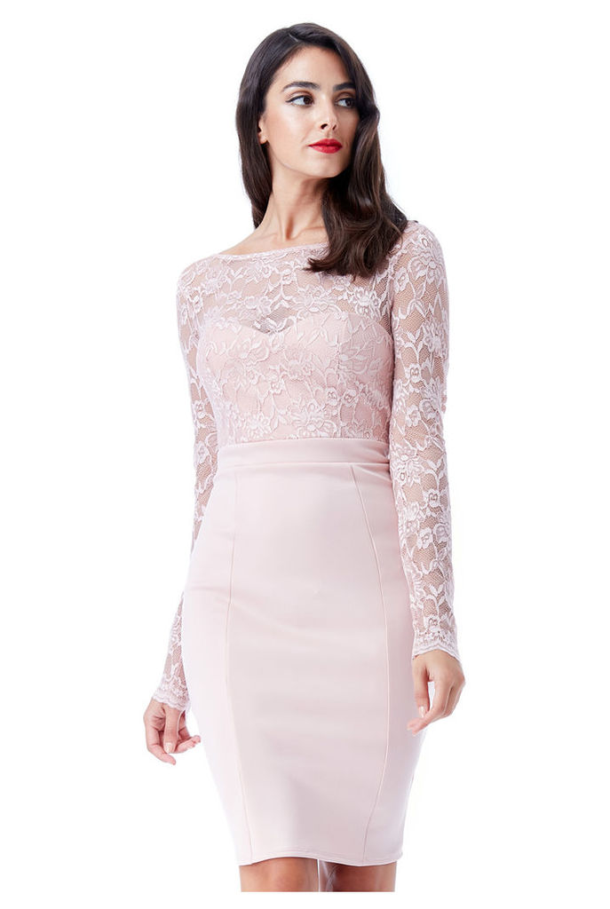Open Back Lace Midi Dress with Bow Detail - Blush